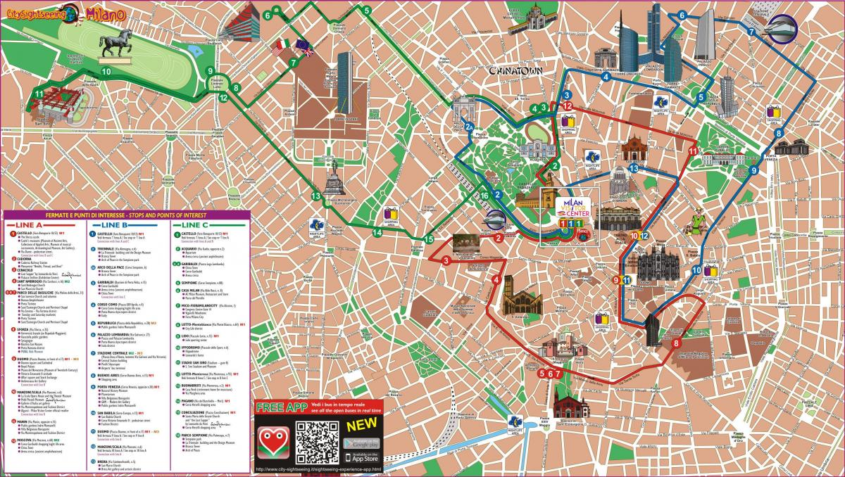 milano hop on hop off tour in autobus mappa